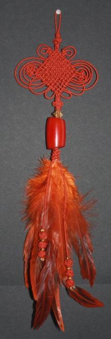 Norigae papillon geant plumes rouille